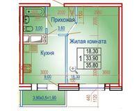 1 комнатная квартира 35,80 кв. м