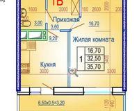 1 комнатная квартира 35,70 кв. м
