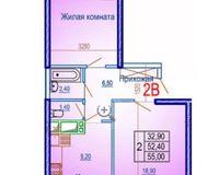 2 комнатная квартира 55 кв. м