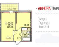 1 комнатная квартира 37, 02 кв. м