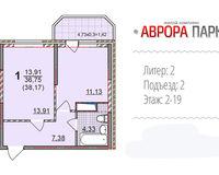 1 комнатная квартира 38, 17 кв. м