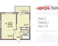 1 комнатная квартира 40, 29 кв. м