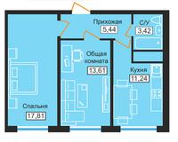 2-комнатная квартира 52,87 кв. м