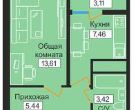1-комнатная квартира 33,04 кв. м