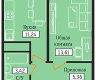 1-комнатная квартира 33,63 кв. м