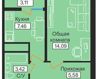 1-комнатная квартира 33,66 кв. м
