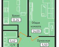 1-комнатная квартира 34,25 кв. м