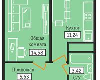 1-комнатная квартира 34,87 кв. м