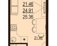 Студия 25,36 кв. м