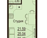 Студия 25,49 кв. м