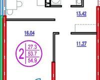 2 комнатная квартира 54,9 кв. м