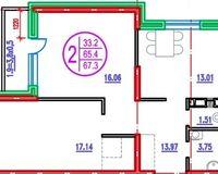 2 комнатная квартира 67,3 кв. м