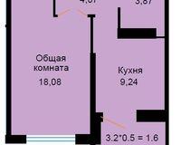 БС 1, 1-комнатная квартира 36.86 кв. м