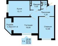 БС 1, 2-комнатная квартира 55.59 кв. м