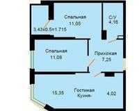 БС 2, 2-комнатная квартира 54.63 кв. м