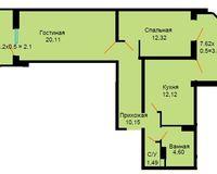 БС 2, 2-комнатная квартира 66.7 кв. м
