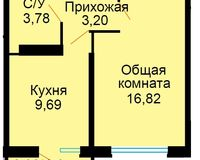 БС 3, 1-комнатная квартира 34.37 кв. м