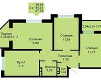 3-комнатная квартира 67.76 кв. м
