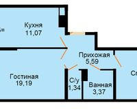 БС 4, 2-комнатная квартира 55.39 кв. м