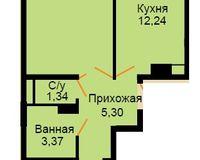 БС 4, 2-комнатная квартира 56.64 кв. м