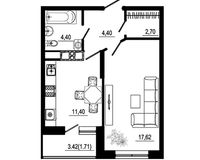 1 комнатная квартира 42,23 кв. м