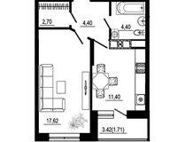 1 комнатная квартира 42,23 кв. м, тип 2