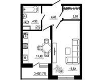 1 комнатная квартира 42,73 кв. м