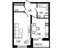 1 комнатная квартира 42,73 кв. м тип 2