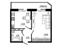 1 комнатная квартира 45,94 кв. м