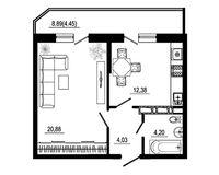 1 комнатная квартира 42,94 кв. м, тип 2