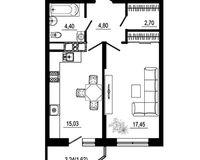 1 комнатная квартира 46 кв. м