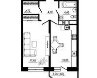 1 комнатная квартира 46 кв. м, тип 2