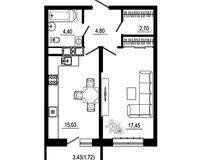 1 комнатная квартира 46,10 кв. м