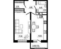 1 комнатная квартира 46,10 кв. м, тип 2