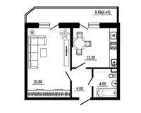 1 комнатная квартира 46,44 кв. м, тип 2