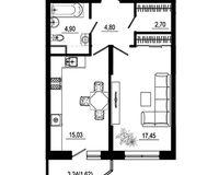 1 комнатная квартира 46,50 кв. м