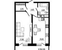 1 комнатная квартира 47,81 кв. м