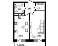 1 комнатная квартира 47,81 кв. м, тип 2