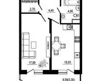 1 комнатная квартира 48,22 кв. м