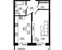 1 комнатная квартира 48,22 кв. м, тип 2