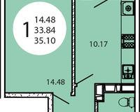 1-комнатная квартира 35,10 кв. м