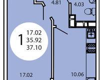 1-комнатная квартира 37,10 кв. м