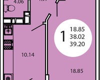 1-комнатная квартира 39,20 кв. м