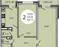 2-комнатная квартира 62,11 кв. м
