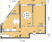 2 комнатная квартира 67,71 кв. м
