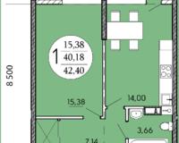 1 комнатная квартира 42,40 кв. м