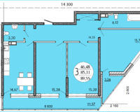 3 комнатная квартира 89,55 кв. м