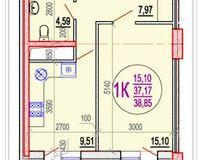 1 комнатная квартира 38,85 кв. м