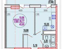 1 комнатная квартира 40,85 кв. м