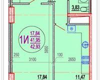1 комнатная квартира 42,93 кв. м